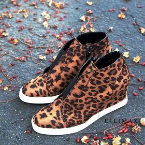 NEW🔥 Leopard Hi-Top Wedge Heel Fashion Sneakers